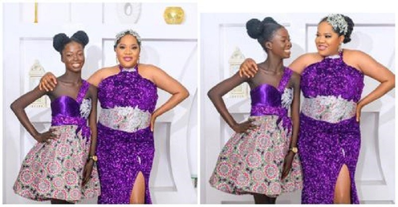 Fans React As Nollywood Actress,Toyin Abraham And Her Stepdaughter Temitope Slays In Matching Outfit